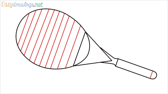 How to draw a Tennis racket step (5)