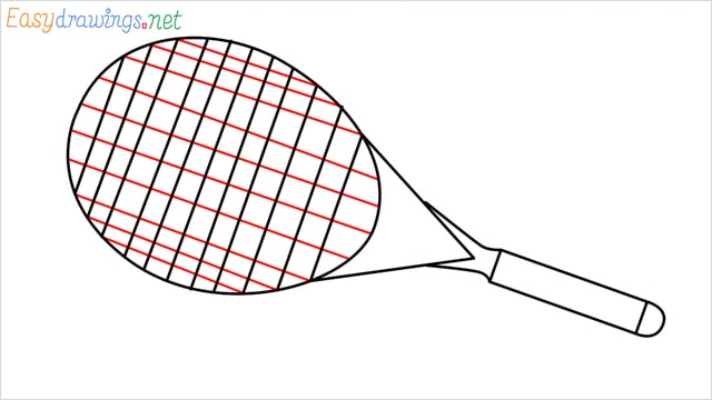 How to draw a Tennis racket step (6)