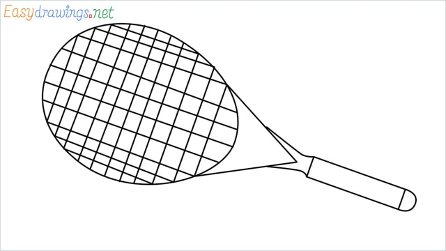 How to draw a Tennis racket step by step