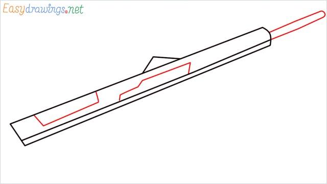 how to draw Barrett M82 Sniper Rifle step (3)