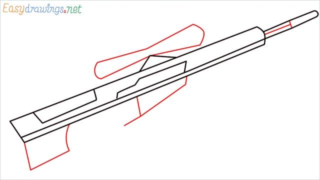 how to draw Barrett M82 Sniper Rifle step (4)