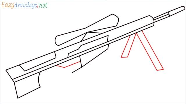 how to draw Barrett M82 Sniper Rifle step (5)