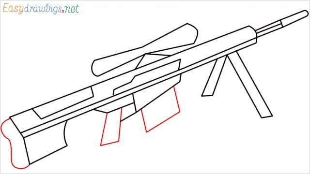 how to draw Barrett M82 Sniper Rifle step (6)