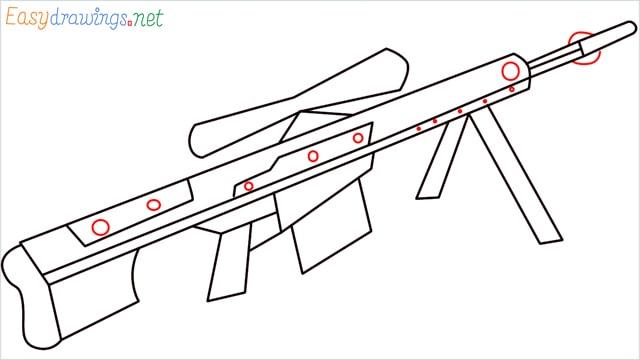 how to draw Barrett M82 Sniper Rifle step (7)