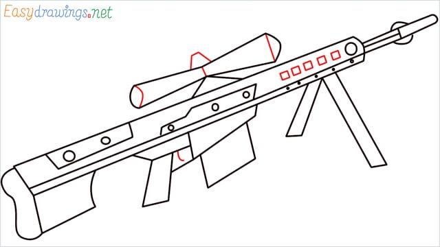 how to draw Barrett M82 Sniper Rifle step (8)