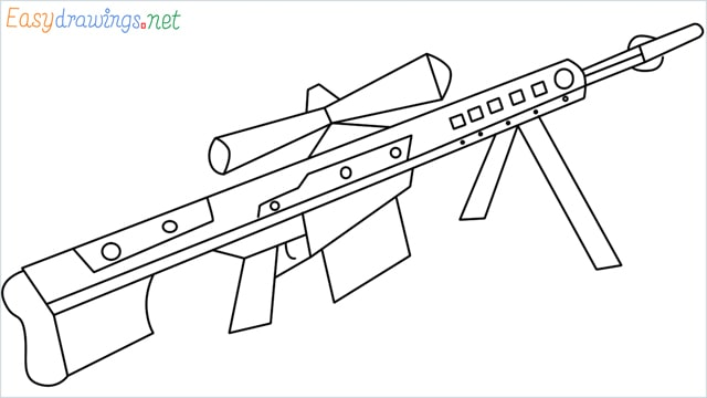 how to draw Barrett M82 Sniper Rifle step by step