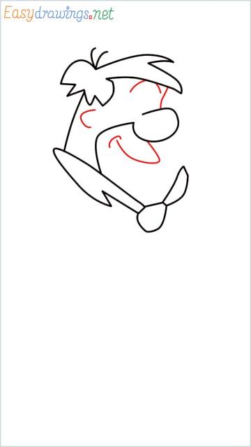how to draw Flintstone step (6)