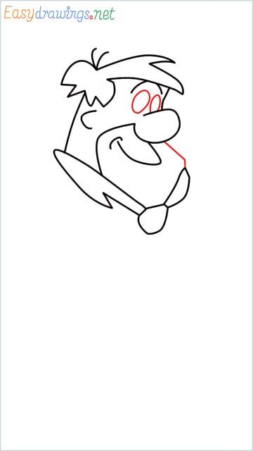 how to draw Flintstone step (7)
