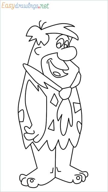 how to draw Flintstone step by step