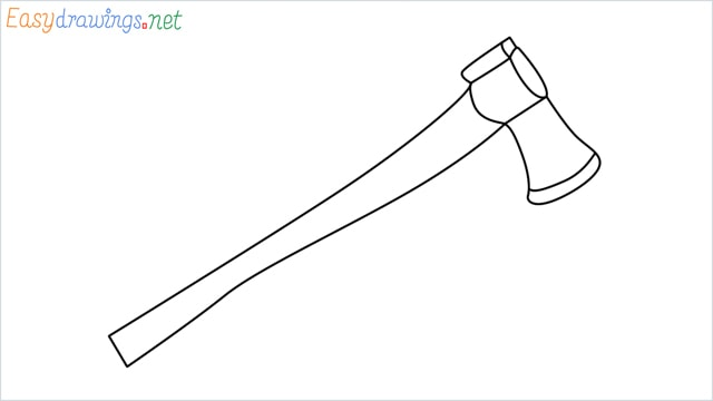 how to draw a axe step by step
