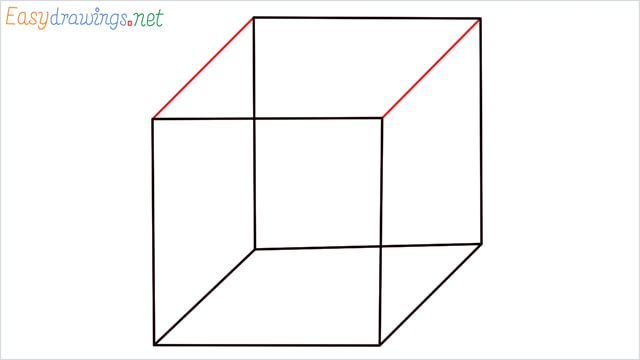 how to draw a cube or box step (6)