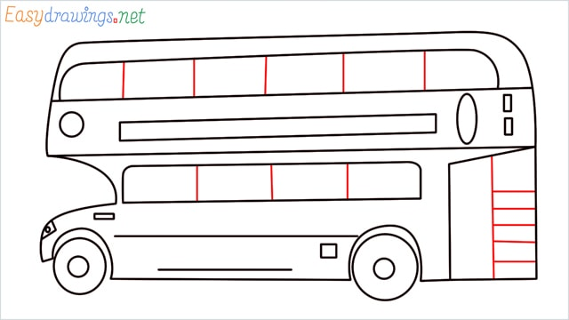 how to draw a double decker bus step (10)