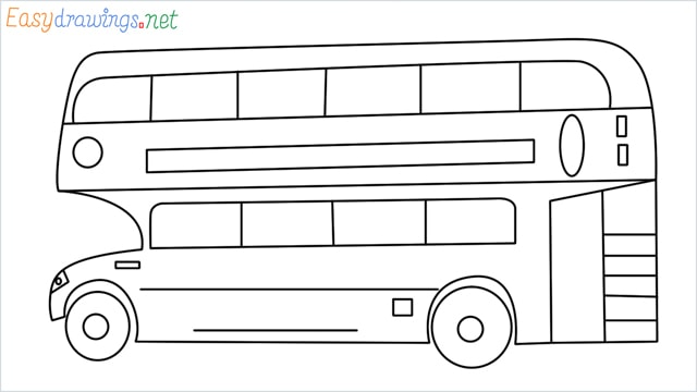 how to draw a double decker bus step by step