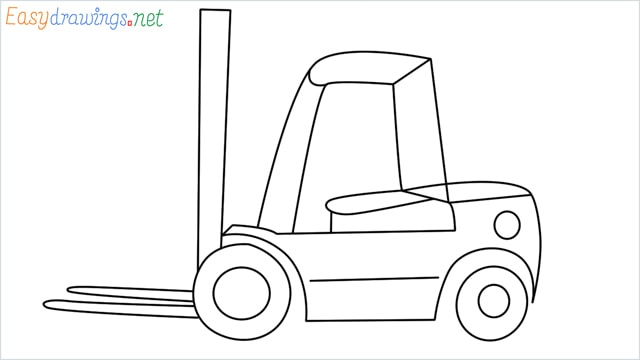 how to draw a forklift step by step