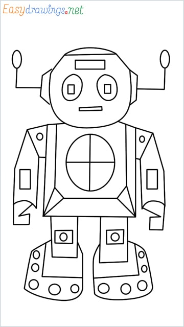 how to draw a robot step by step
