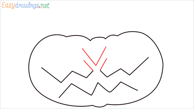 How to draw a Halloween Scary Pumpkin step (4)