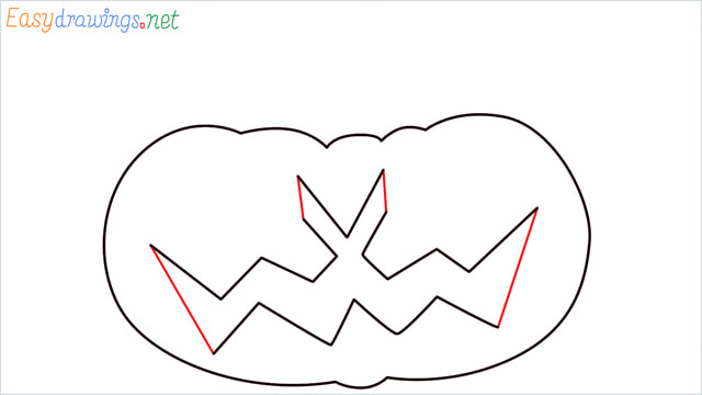 How to draw a Halloween Scary Pumpkin step (5)