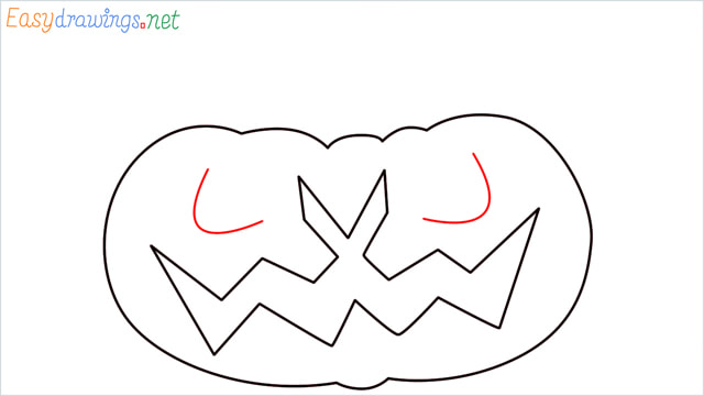 How to draw a Halloween Scary Pumpkin step (6)