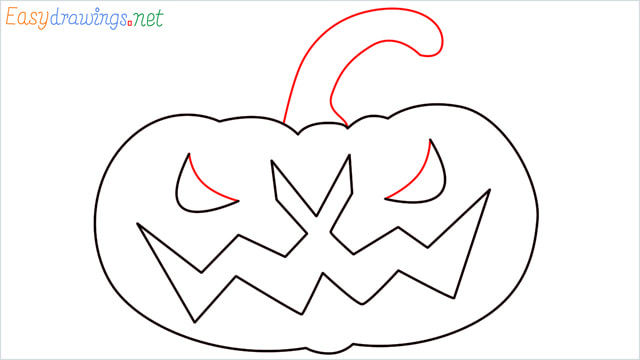 How to draw a Halloween Scary Pumpkin step (7)