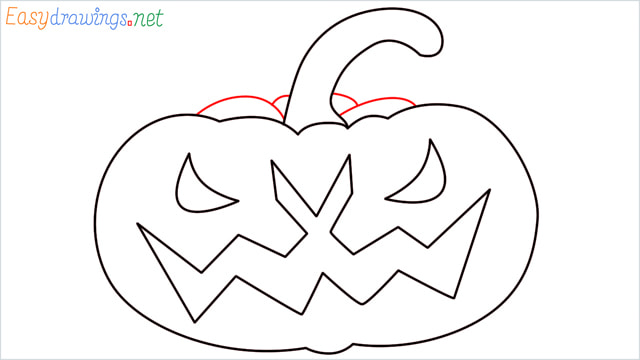 How to draw a Halloween Scary Pumpkin step (8)