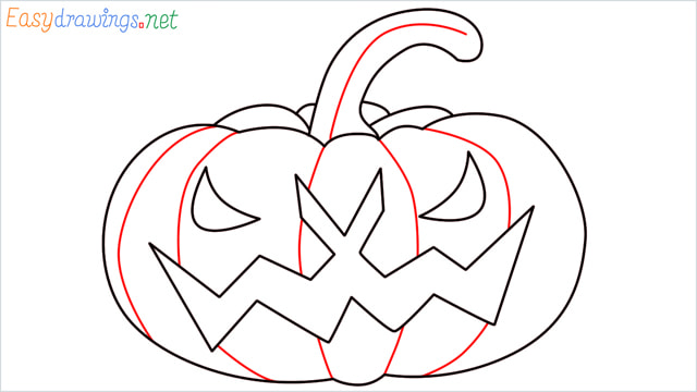How to draw a Halloween Scary Pumpkin step (9)