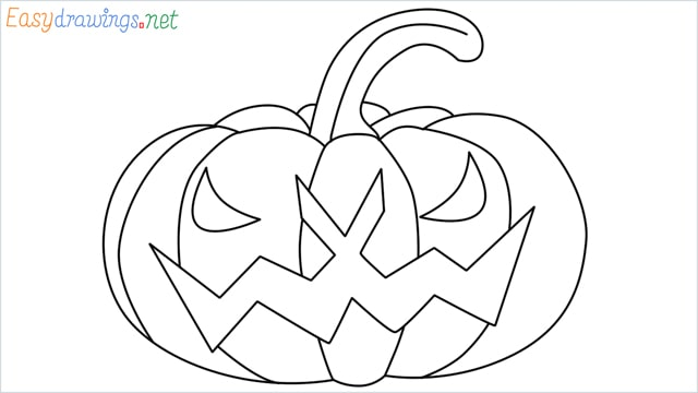 How to draw a Halloween Scary Pumpkin step by step