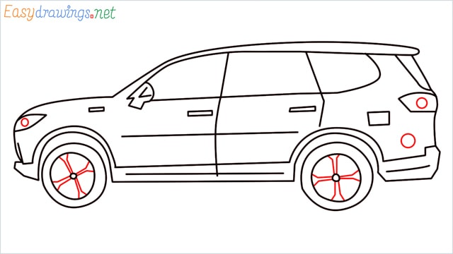 How to draw a SUV Gloster car step (10)