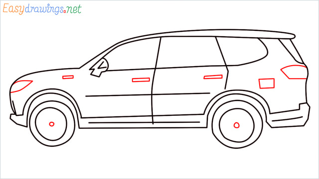 How to draw a SUV Gloster car step (9)