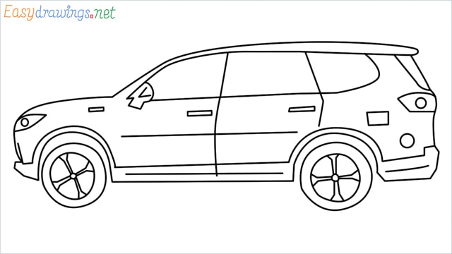 How to draw a SUV Gloster car