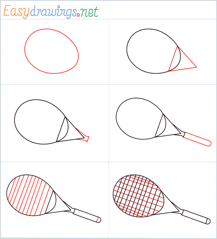 Overview for Tennis Racket drawing all steps in one place