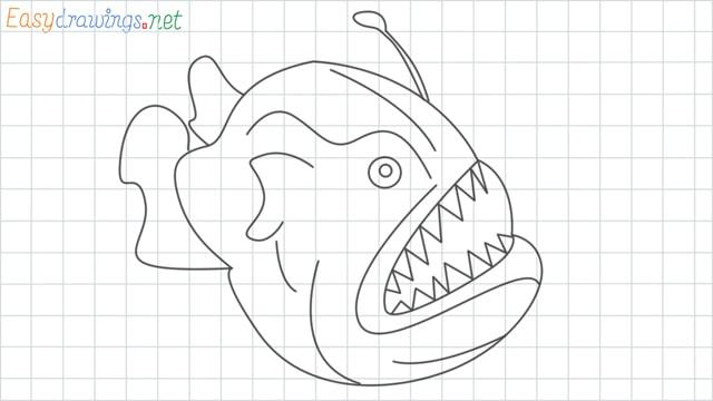 Angler fish grid line drawing
