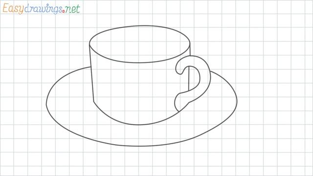 Coffee cup grid line drawing