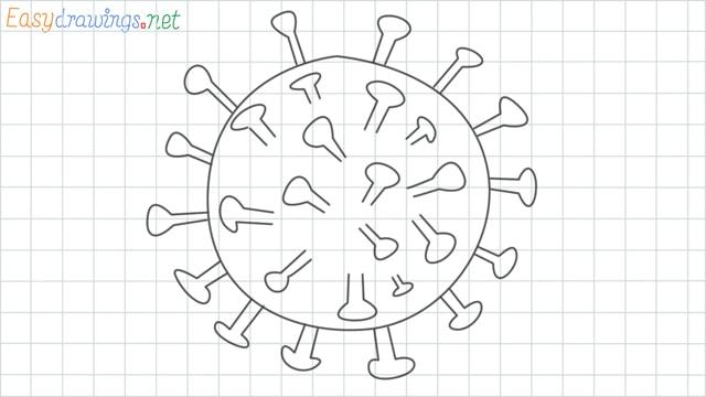Coronavirus grid line drawing