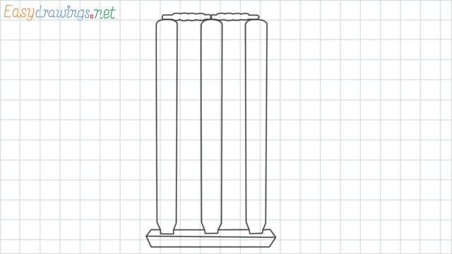 Cricket stumps grid line drawing