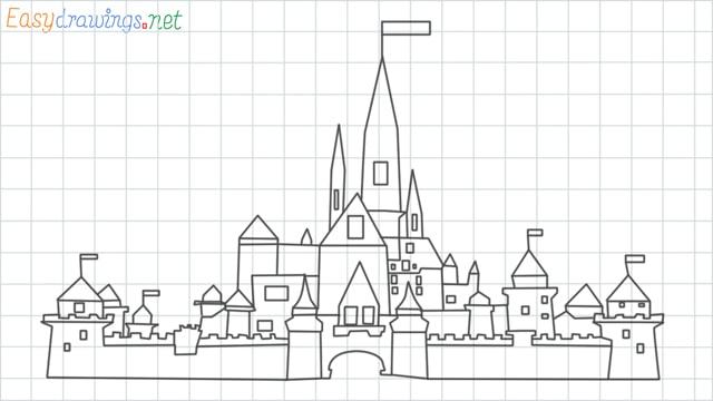 Disney castle grid line drawing