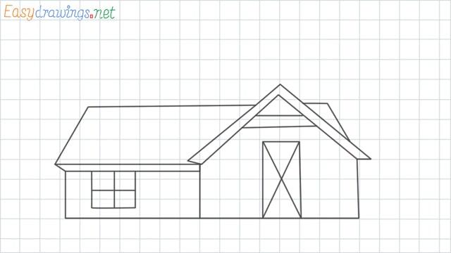 Farmhouse grid line drawing