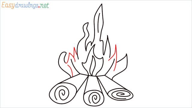 How to draw a Campfire step (10)