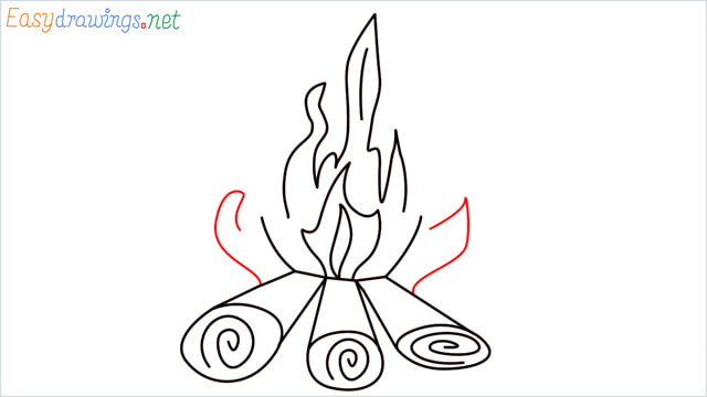 How to draw a Campfire step (9)