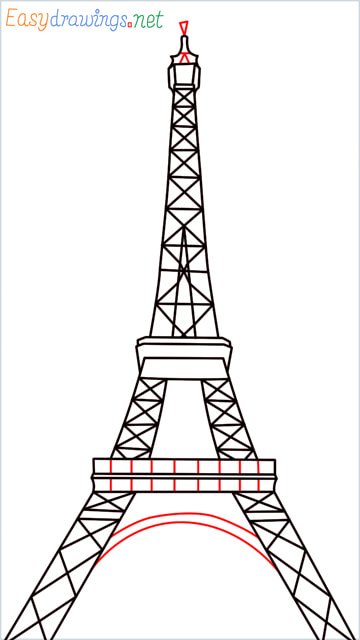How to draw the Eiffel tower step (10)