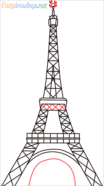 How to draw the Eiffel tower step (11)