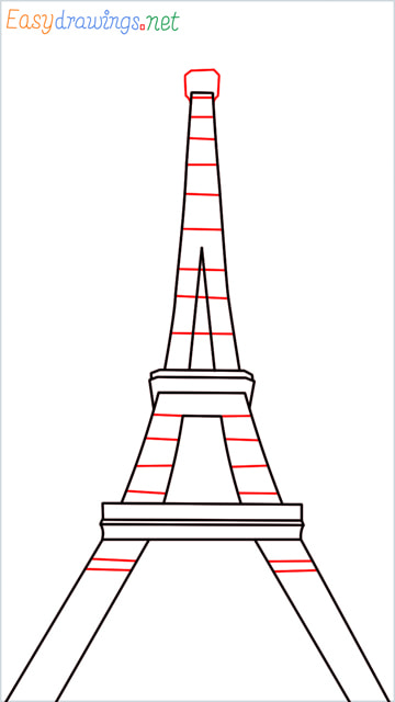 How to draw the Eiffel tower step (7)