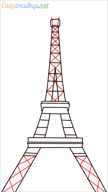 How to draw the Eiffel tower step (8)