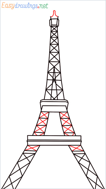 How to draw the Eiffel tower step (9)