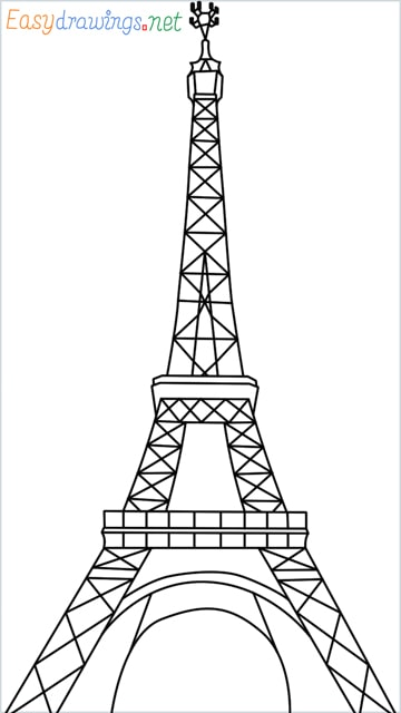 How to draw the Eiffel tower step by step