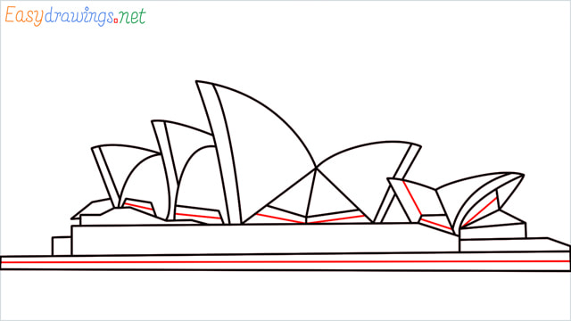 How to draw the Opera house step (11)