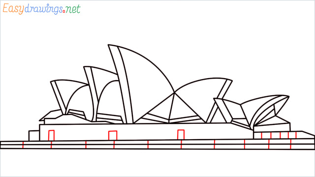 How to draw the Opera house step (12)