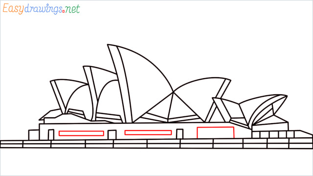 How to draw the Opera house step (13)