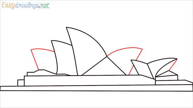 How to draw the Opera house step (7)
