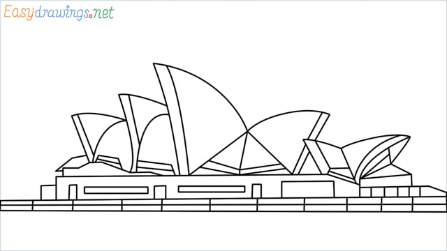 How to draw the Opera house step by step