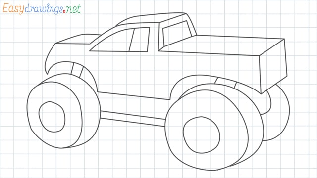 Monster truck grid line drawing